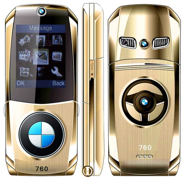 1.8 unlocked flip full metal modèle de voiture clé conception forme GPRS De Luxe principal mobile téléphone portable Russe Clavier H-mobile 760