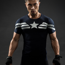 2017 New The Avengers Captain America 2 Blue Slim T-shirt Mens Cotton T Shirt for Spring Autumn Casual Clothes Top Tee