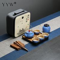 Beautiful 4 Colors Tea Set Mug Gift Porcelain Portable Tea Travel Set With Tea Pot Blue/Red Master Cup Teaware Accessories