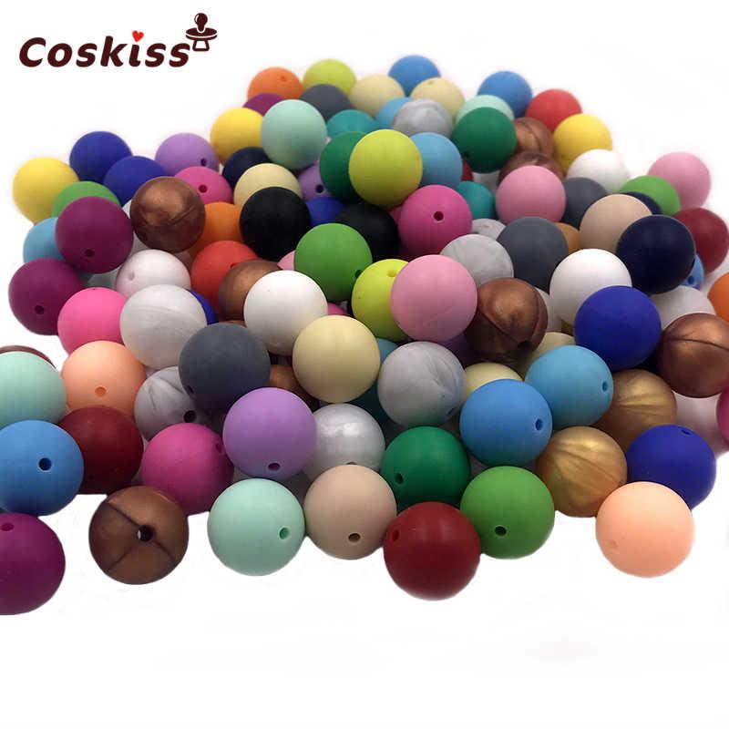 10 PC Silikon Alami Manik-manik Bulat 15 Mm Mengunyah Keperawatan Beads Pesona Kalung Liontin BPA Free Baby Silikon Teething Teether mainan