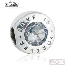 Original 925-Sterling-Silver Amor es Para Siempre Charms Beads Fit Pandora Pulsera CZ Clara Del Grano Para SHEALIA Regalo de La Joyería Que Hace DIY