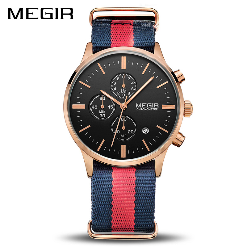 MEGIR Original Men Watch Women Watches Fashion Sport Quartz Watches Canvas Strap Wristwatch Relogio Masculino Clock Men 2011