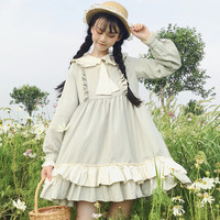 Sweet Cute Necktie Peter pan Collar Dress Teens Girls Frilled Ruffle Dress Short Ball Gown Long Sleeves Japanese Lolita Dress