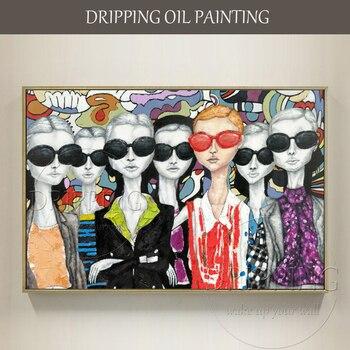 Новый дизайн высокое качество Ручная роспись Современная леди картина маслом на холсте смешное лицо с очками картина маслом для украшения ...