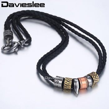 Davieslee Metal Tooth Pendant Manmade Leather Necklaces for Men Mens Pendant Necklace Wholesale Surfer Jewelry 10mm 20inch LP99