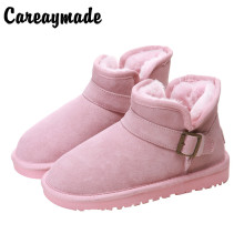 Careaymade-Korean version velvet pedals winter snow boots, women's 2018 new models short tube leather students toast boots
