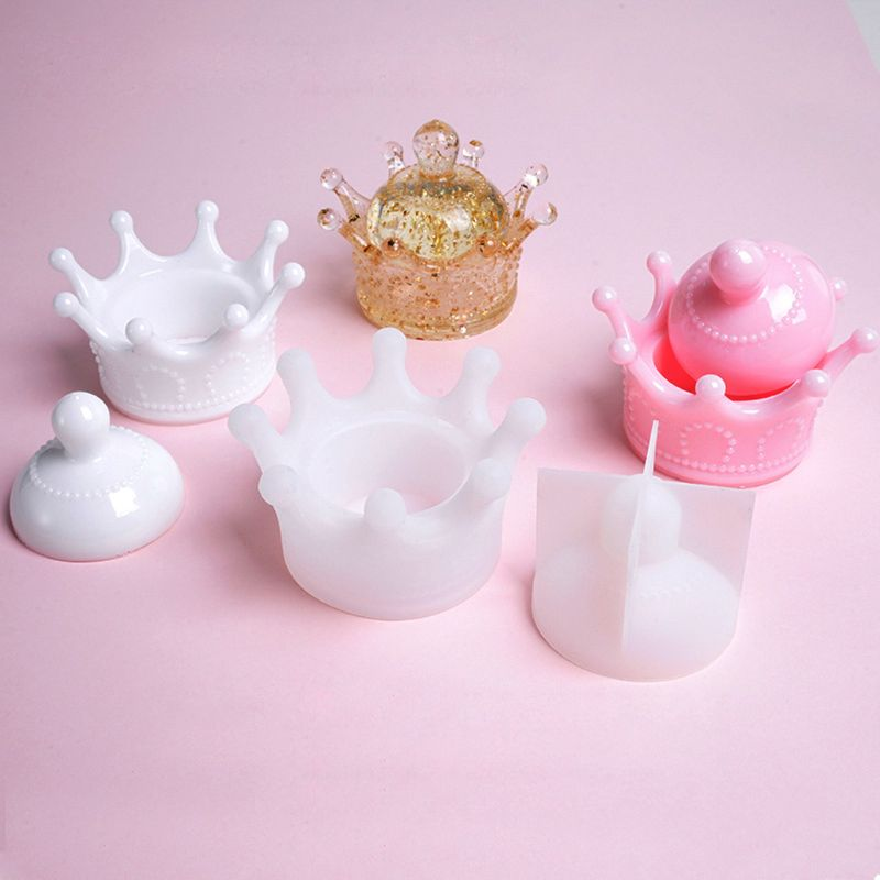 DIY Cute Crown Jewelry Storage Box Epoxy Resin Casting Silicone Mold Craft Tools