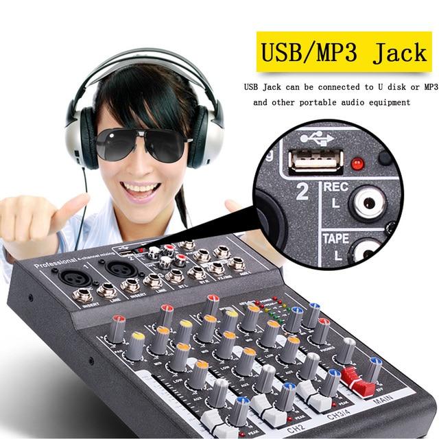 Mini Portable Audio Mixer with USB DJ Sound Mixing Console  1