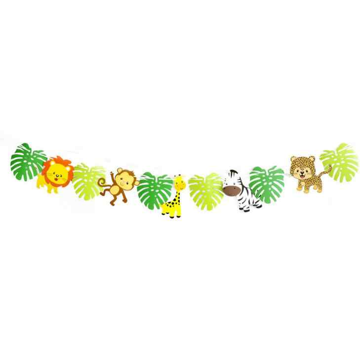 1 Set Animals Green Forest Happy Birthday Banner Jungle Party Photo Background Decoration Baby Kids Birthday Theme Party Banner