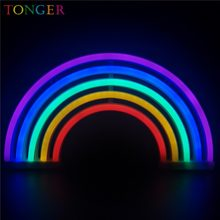 TONGER Fashion Colorful Rainbow led neon sign light holiday Xmas party wedding decorations kids room night lamp home wall Decor(China)