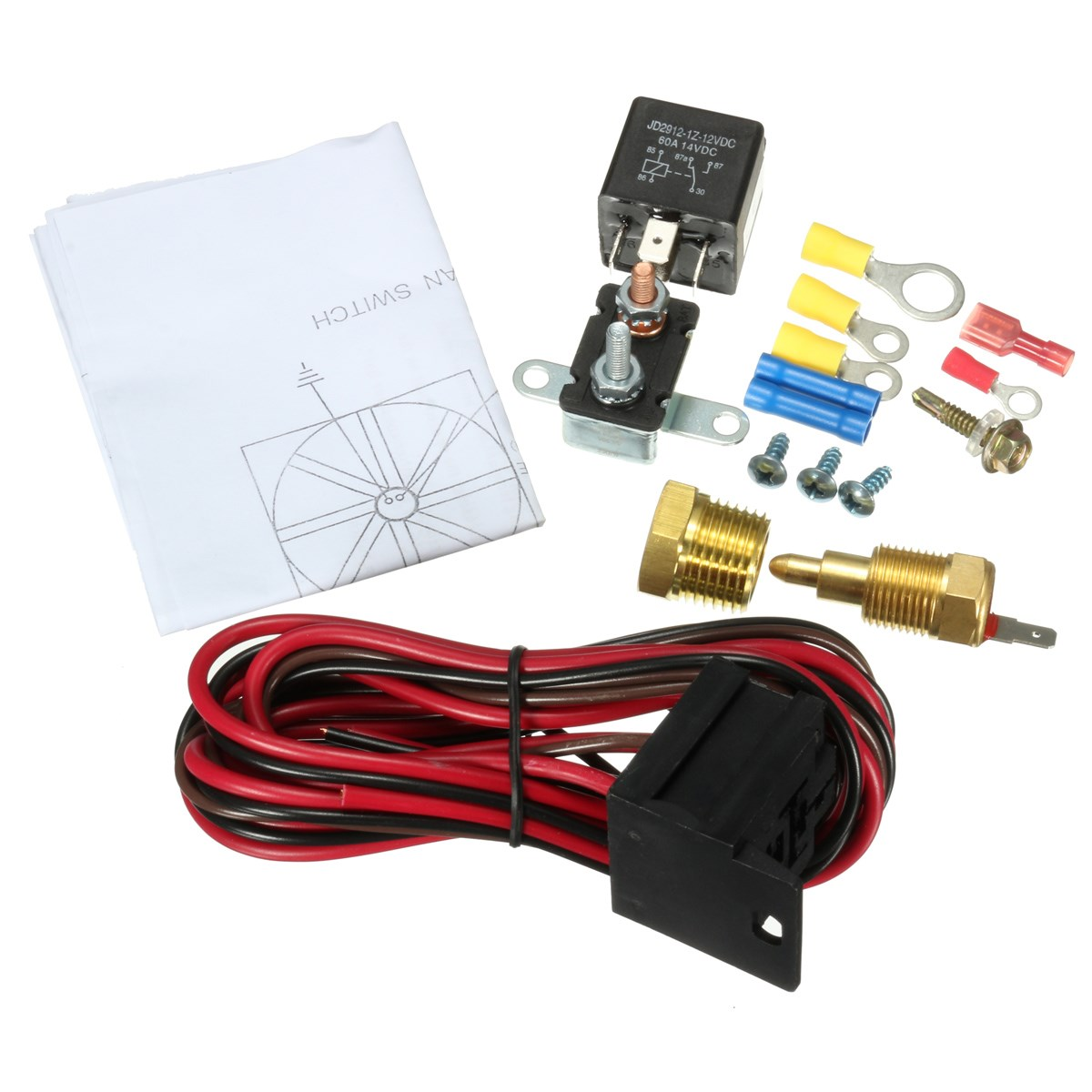 US $11 81 23% OFF|New 210 To 195 Degree Engine Cooling Fan Thermostat  Temperature Switch Sensor Relay Kit 5 Pins 12V DC-in Temperature Sensor  from