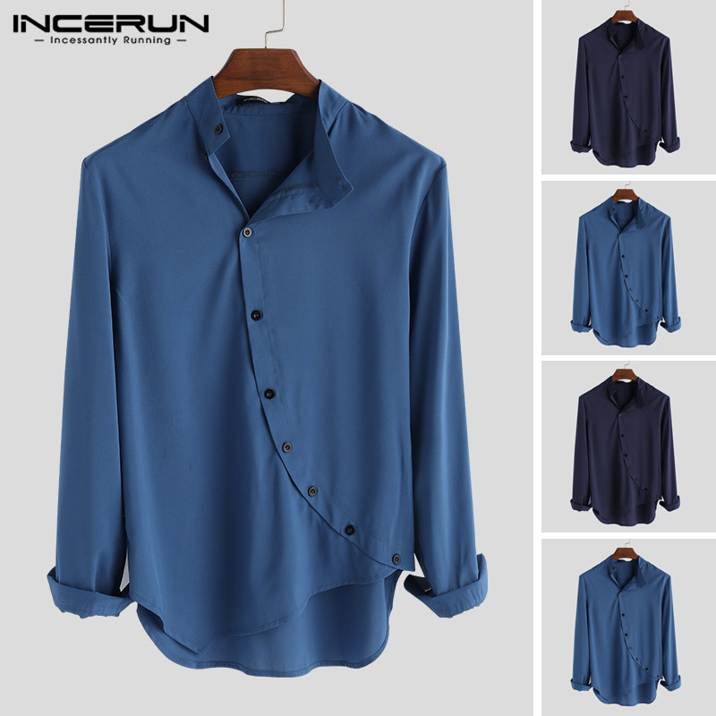 2020 Men Shirt Stand Collar Solid Color Button Long Sleeve Slim Fit Tops Fashion Casual Irregular Shirts Men Clothes INCERUN 5XL