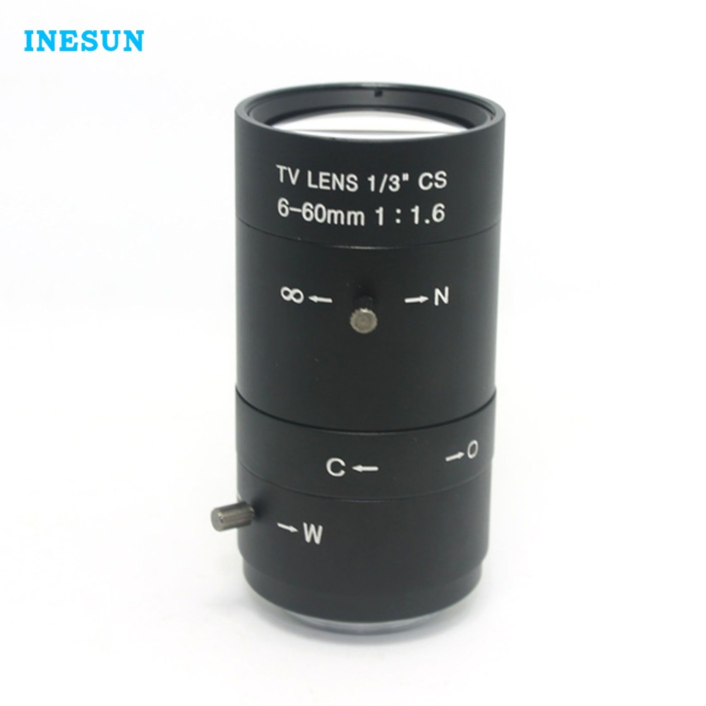 Inesun Manual IRIS ZOOM 6-60mm CS C Mount Lens CCTV Lens for CCTV Camera 8mm 12mm 16mm cctv ir cs metal lens for cctv video cameras support cs mount 1 3 format f1 2 fixed iris manual focus