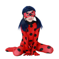 Ladybug Marinette Cosplay 2017 New Kids Costumes Halloween Performence Clothes Miraculous Children Zentai Catsuit With Mask