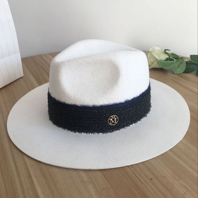 M white hat hat female British wool all-match winter jazz hat Korean wide brimmed hat brim big tide ladies