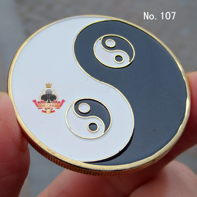 Metal for Pressing Poker Cards Guard Protector No.107 Yingyang Taiji Poker Chips Souvenir Coins