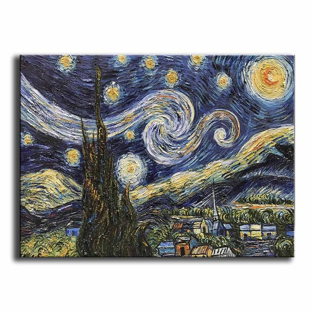Hand Painted Oil Painting on Canvas Blue Starry Night By Vincent Van Gogh Work Abstract Oil Paintings Framed Modern Home Wall