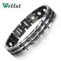 Wollet Jewelry 21cm Mens Healing Energy Bracelet Black Plated Magnetic Titanium Bracelets Bangles For Men