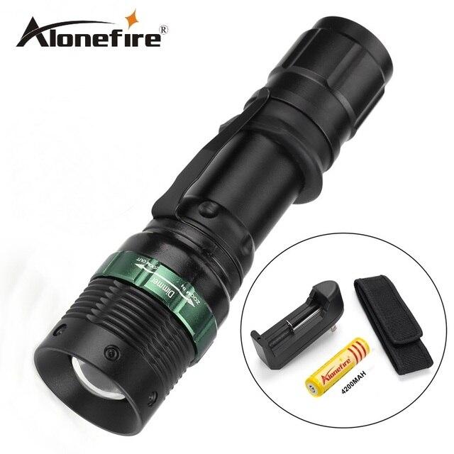 E3 1set led 2000Lumens LED Flashlight Adjustable Focus Zoom Flash Light Lamp+18650 battery+charger+Flashlight Holster
