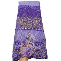 Handmade Beaded Luxury Embroidery French Lace Purple African Tulle Lace Fabric Nigerian Lace Fabric 2018 High Quality Lace H1365