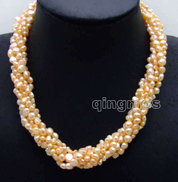 SALE 4-6mm Natural freshwater braoque Pink pearl 3 strands singlehanded necklace combination sets-5051