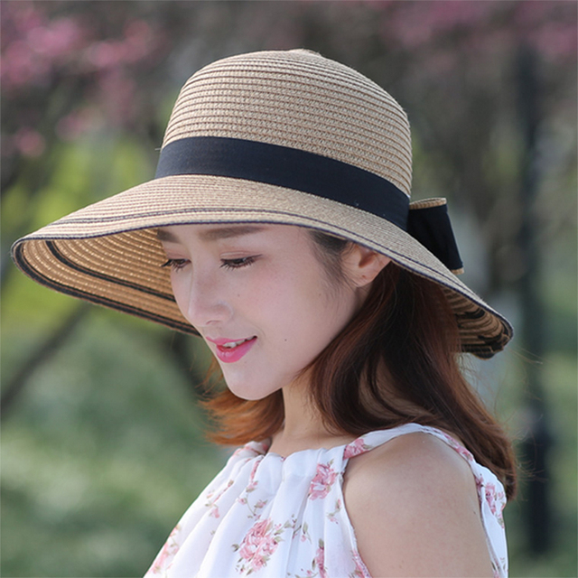 a93ff2a6c2b Lacontrie 2018 New Summer Wide Brim Beach Women Sun Straw Hat Elegant Cap  For Women UV