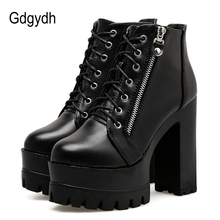Gdgydh Autumn Fashion Women Boots High Heels Platform Lace Up Leather Short Booties Black Side Zippers 2018 New Drop Shipping