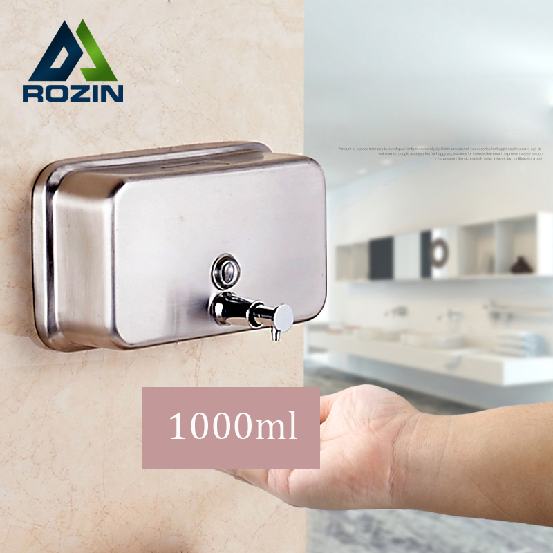 ФОТО Free Shipping Stainless Steel 1000ml Liquid Bathroom Kitchen Soap Dispenser Wall Mounted Distributeur De Savon Liquide