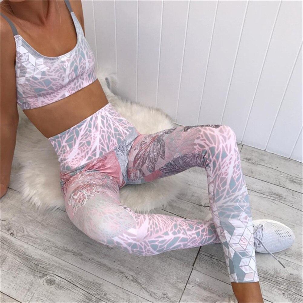 90865ea6728b4 Mujeres Fitness Yoga Set gimnasio deportes correr Jogging danza deporte  traje ropa de entrenamiento camisetas pantalones