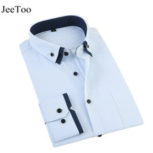 2017 New Cotton Men Dress Shirt Casual Striped Long Sleeve Turn Collar Male Shirt Clothes Business Formal Mens Shirts Slim Fit