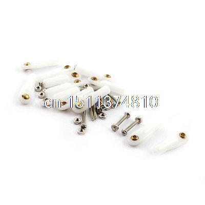 12Pcs RC Car 2X26X2.2mm Plastic Tie Rod End Ball Joint Buckle White w Screws