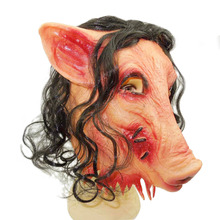 Halloween Creepy Animal Prop Latex Party Unisex Scary Scar Pig Head Mask With Black Hair Cosplay Latex Rubber Halloween Costume high quality carnival circus creepy giggles halloween clown head mask