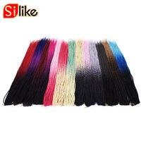Silike 6 packs 30 Roots Senegalese Twist Braiding Hair 24 inch Crochet Ombre Crochet Braids Hair Heat Resistant Fiber for Women