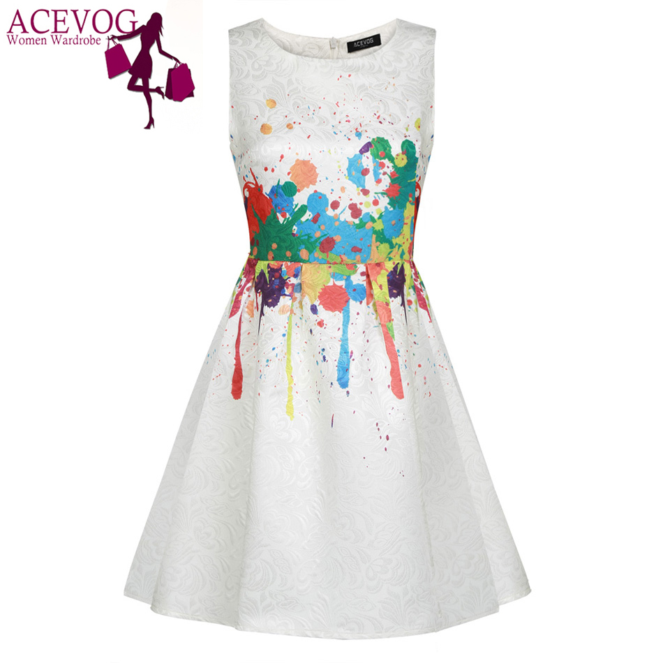 f373d95ec05 ACEVOG Women casual Summer Dress Sleeveless sexy vestidos Elegant dresses  1950s 60s Floral Swing Vintage Rockabilly Print Dress-in Dresses from  Women s ...