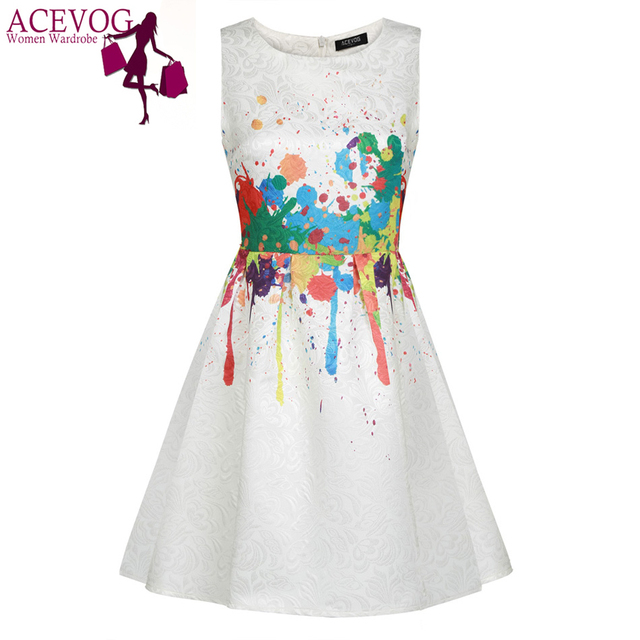 ACEVOG Women casual Summer Dress Sleeveless sexy vestidos Elegant dresses 1950s 60s Floral Swing Vintage Rockabilly Print Dress