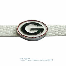 SL366 50pcs SPORT TEAM 8mm Slide Charms can through 8mm Belt /Pet Collar/Key chain DIY accessory Free Shipping