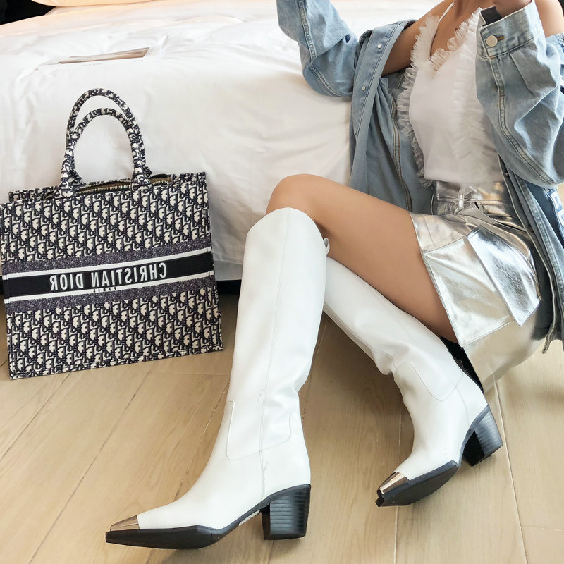 Compre Botas De Caña Alta De Cuero Genuino Para Mujer Botas Altas De Muslo Blanco Negro Para Mujer Primavera Otoño Vestido De Fiesta Plataformas
