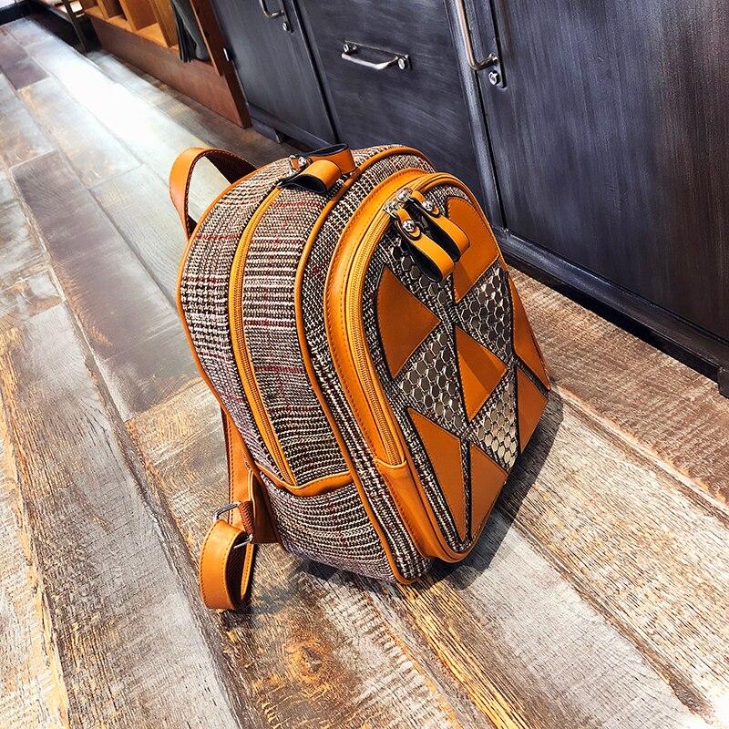 Rivets Women Backpack For Teenage Girls Fashion School Shoulder Bag Female Patchwork High Quality Leather&Wool BagPack Mochila