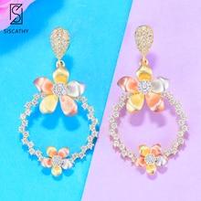 Siscathy Charms Girls Earrings Lovely 3 Tone Flower Round Dangle Drop For Women Party Wear Jewelry Cubic Zirconia
