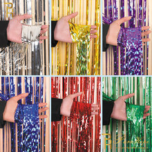 2M Gold Pink Rainbow Sequin Backdrop Foil Fringe Tinsel Curtain Birthday Party Wedding Decorations Adult Rain Party Backdrop(China)