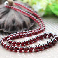 Free shipping Good Quality Natural Wine Red Garnet Crystal Round Beads Necklace 4mm 9.5mm