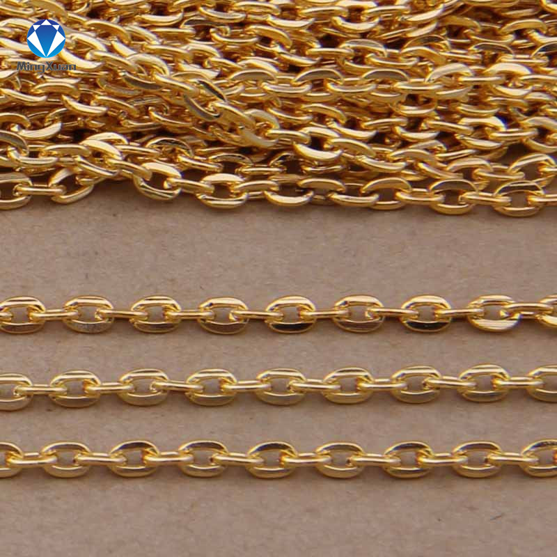 MINGXUAU 5m/lot Rhodium/Silver/Gold/Gunmetal/Antique Bronze Plated Necklace Chains Brass Bulk For DIY Jewelry Making Materials