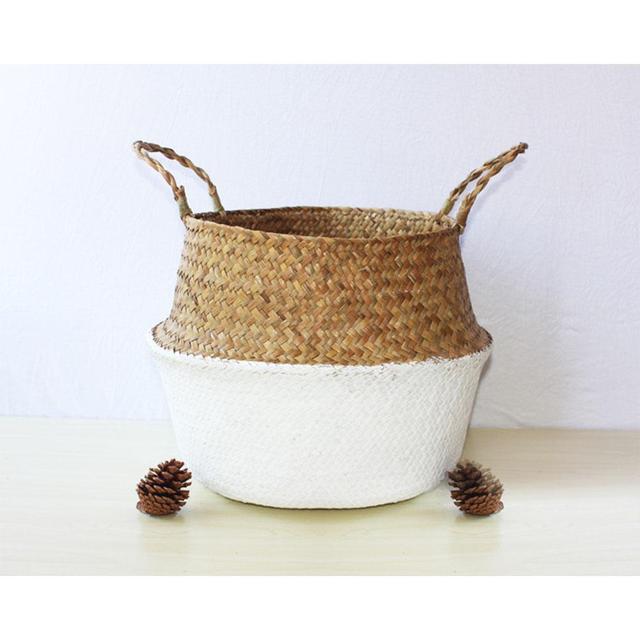 Seagrass Cesta do Armazenamento De Vime Rattan Vaso de Flores e Plantador de Suspensão Dobrável Tecido Cesto de roupa Suja Cesta De Armazenamento