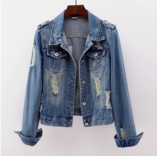 Women Denim   Jacket   Coat Jean Casual Pattern Female   Basic   Coat Slim Windbreaker Pockets Vintage Autumn Slim Lady Outwear