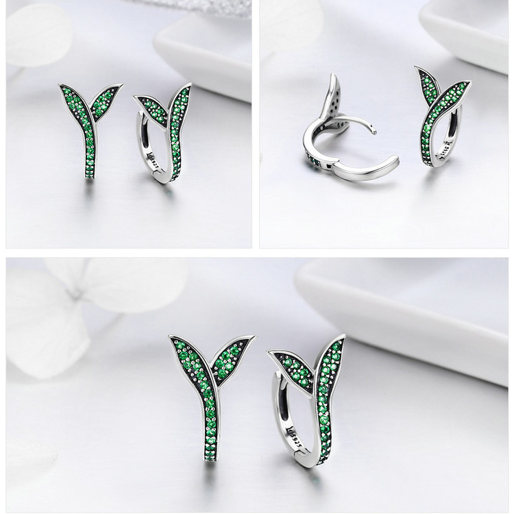 HTB1QT dcaSWBuNjSsrbq6y0mVXa3 BAMOER 100% 925 Sterling Silver Spring Collection Flower Buds Green CZ Hoop Earrings for Women Sterling Silver Jewelry SCE295