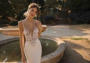 Image 2 - LORIE vestidos de novia de sirena, sexys, tirantes finos, apliques de encaje, playa, Espalda descubierta, vestido de novia bohemio 2020