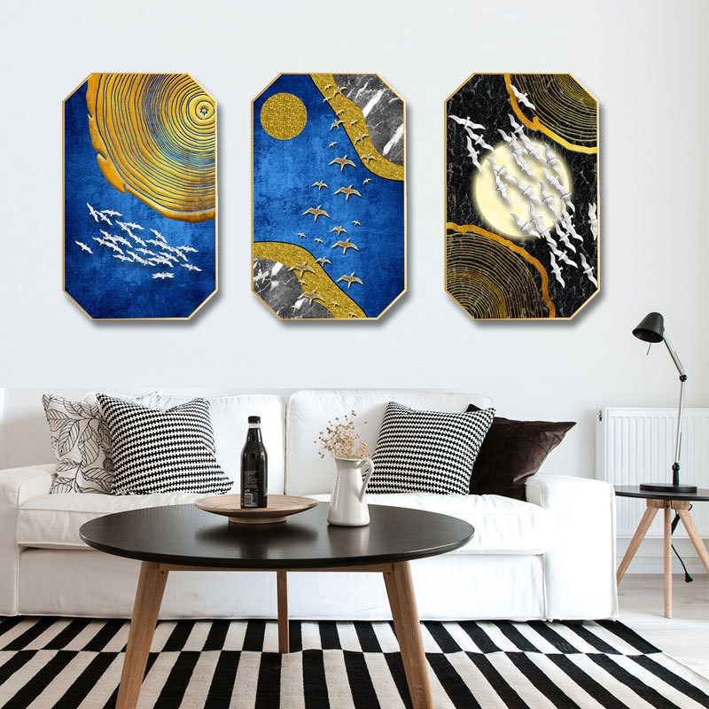 Nordic style INS Gold foil half perspective abstract home hotel hanging painting background wall restaurant decorative mural