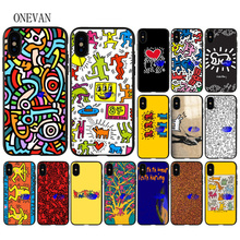 Keith Haring art Printing Drawing black soft Phone Case for iPhone 7 8 6 6S Plus X XS MAX 5 5S SE XR Cover coach x keith haring бумажник