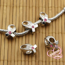 Wholesales 20pcs/lot Pink Rhinestone Crystal Ribbon Breast Cancer Awareness Charms Big Hole Beads For Jewelry European Bracelets