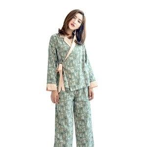 Image 2 - Herbst Langen Ärmeln 100% Baumwolle Pyjamas Schöne Cartoon Pijama Mujer Druck Pyjamas Frauen V ausschnitt Nachtwäsche Loungewear Pj Set